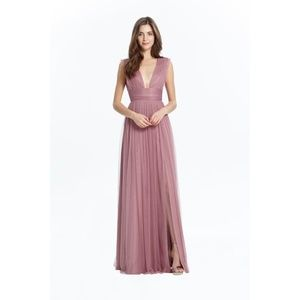 Monique Lhuillier Lily Metallic Chiffon Dress
